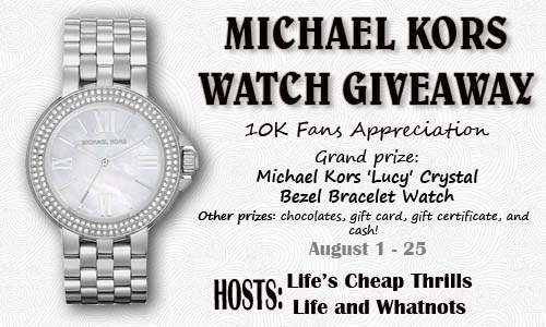 Enter : 10K Fans Appreciation Giveaway~Win Michael Kors Watch