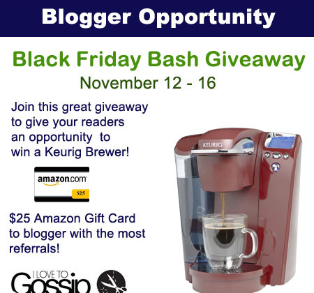 Blogger Sign Up : Keurig Brewer Giveaway