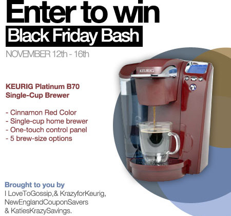 Enter : Keurig Platinum B70 Giveaway #BlackFridayBash
