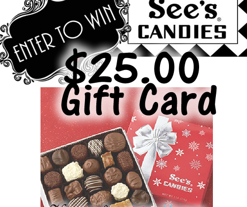 Enter : $25 See's Candies GC Giveaway