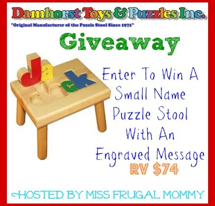Enter : Damhorst Toys Name Puzzle Stool Giveaway