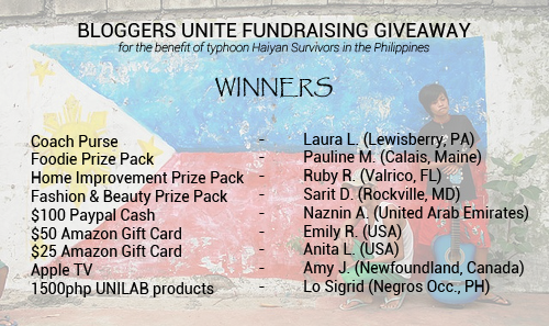 BLOGGERS UNITE WINNERS