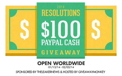 Enter :  $100 Paypal Cash 2014 Resolutions Giveaway