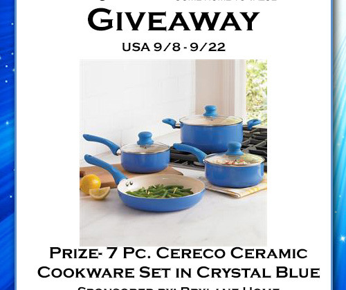Enter : 7Pc. Cereco Ceramic Cookware Giveaway