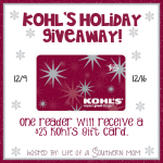 Enter : Kohl's $25 GC Holiday Giveaway